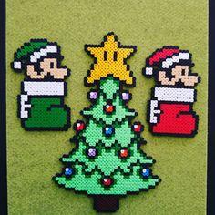 Christmas Mario perler beads by  super_likes