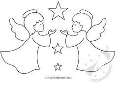 Pendente con angeli e stelle da attaccare sulle finestre o sulle pareti della classe nel periodo natalizio. Christmas Colors, All Things Christmas, Kids Christmas, Christmas Decorations, Christmas Ornaments, Christmas Templates, Christmas Printables, Colouring Pages, Coloring Books