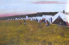 Allen Sapp - At the Sundance 24 x Land Of The Living, Canadian Art, Acrylic Canvas, Throughout The World, First Nations, Beautiful Artwork, American Artists, Sky, Dance