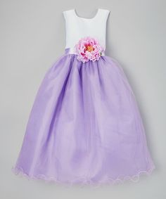 Another great find on #zulily! White & Lilac Flower-Sash A-Line Dress - Toddler & Girls #zulilyfinds