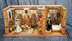 "Lot: 29"" (74 cm.) German Wooden Dollhouse Rooms, Original Furnishings and Dolls 1500/2000 
