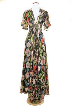 Ossie Clark Chiffon Crepe Tulip Print Dress English, circa 1973