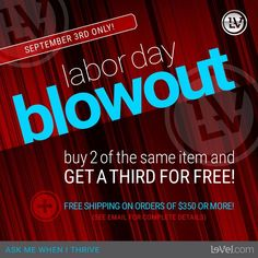 ONE day only!! 9/3/16 Buy 2 get 1 FREE!! See picture for details!! http://jennyhermel.le-vel.com/