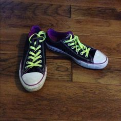 Converse neon purple and yellow Lightly worn, in perfect condition! Converse Shoes