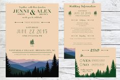 Rustic Mountain View Wedding Invitation Suite | Mountains | Forest