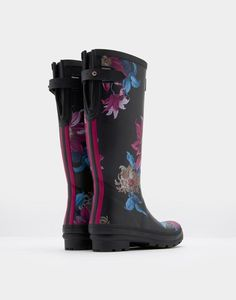 a2cc6b042 AJUSTA Adjustable Back Gusset Printed Rain Boots Joules Uk