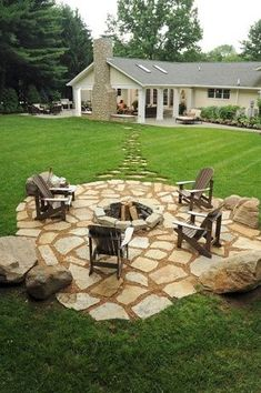 Rustic Patio with Pathway, Fire pit, Flagstones, exterior stone floors, Berlin Gardens Comfo-Back Adirondack Chair
