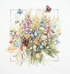 Lanarte, Marjolein Bastin Cross Stitch Collection, Summer Bouquet - Counted Cross Stitch Kit - A beautiful bouquet of flowers with bees and butterflies Butterfly Cross Stitch, Cross Stitch Flowers, Embroidery Kits, Cross Stitch Embroidery, Cross Stitch Designs, Cross Stitch Patterns, Marjolein Bastin, Flying Flowers, Cross Stitch Collection