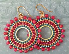 Double Hoop Earrings Aqua Berries II Seedbead Hoop by WorkofHeart