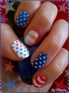 my 4th of July nails made with  Cheeky plates # 4 & # 5 ... White by Konad, Blue & Red by Sinfulcolors #nails #artnails #konad #cheeky nails #Sinfulcolors
