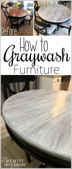 You can pull off this Farmhouse Graywash Technique on your furniture with minimal supplies and DIY experience! Tutorial on Reality Daydream furniture living room Farmhouse Graywash Technique - Reality Daydream Refurbished Furniture, Farmhouse Furniture, Repurposed Furniture, Kitchen Furniture, Table Furniture, Rustic Furniture, Furniture Makeover, Farmhouse Decor, Antique Furniture