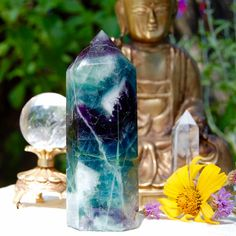Fluorite Crystal Point, Quartz Tower, Healing Stones and Crystals, Meditation…