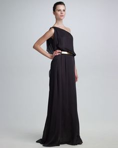 One-Shoulder Silk Gown & Metal Belt by Maison Rabih Kayrouz at Neiman Marcus.