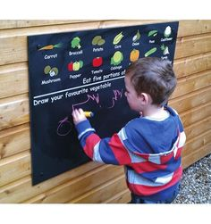 Christmas Gift Guide - One for the kids! A vegetable printed chalkboard for the garden or playroom! Priced at How To Clean Chalkboard, Kids Chalkboard, Chalkboard Designs, Wooden Wine Boxes, Wooden Crates, Vegetable Drawing, Liquid Chalk Pens, Vegetable Prints, Colorful Vegetables