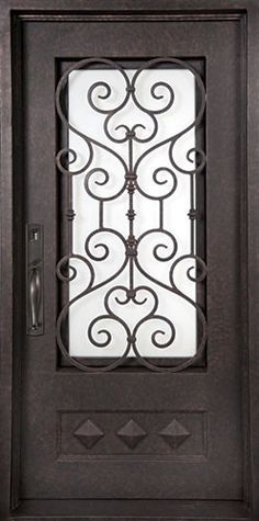 Iron Doors Unlimited in. Vita Francese Classic Lite Painted Oil Rubbed Bronze Wrought Iron Prehung Front Door at The Home Depot - Mobile Iron Front Door, Front Doors, Front Entry, Victorian Irons, Prehung Doors, Wrought Iron Doors, Grill Design, Hanging Pendants, Entrance Doors