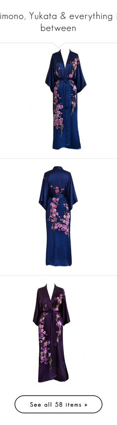 """""""Kimono, Yukata & everything in between"""" by caitlin-rosling ❤ liked on Polyvore featuring intimates, robes, silk kimono robe, silk bath robes, silk robe, long bath robe, robe kimono, kimono bathrobe, dressing gown and kimono robe"""