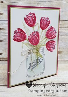 handmade cards, daisy delight paper, stampin up Pretty Cards, Love Cards, Diy Cards, Making Greeting Cards, Greeting Cards Handmade, Mason Jar Cards, Mason Jars, Stamping Up Cards, Mothers Day Cards