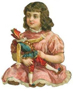 Victorian Die Cut Scrap Chromo Glanzbilder Oblate BROWN HAIR GIRL WITH DOLL (03/18/2013):