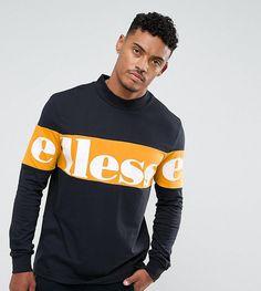 #ASOS - #Ellesse Ellesse High Neck Sweatshirt With Large Panel Logo In Black - Black - AdoreWe.com