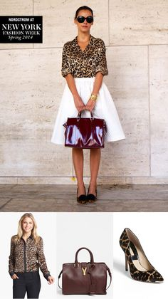 NYFW street style: Get her look! Leopard-print blouse, red leather tote, animal-print pumps.