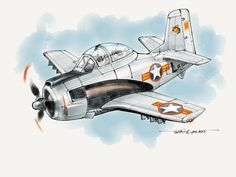 """VNAF Trojan T-28B of the """"Flying Tiger"""" 516th Fighter Sq. done in Paper 53 on iPad2 (drew from memory)."""