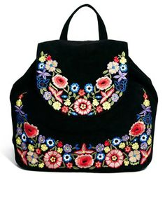 ASOS Leather Backpack With Fringe And Flower Embroidery