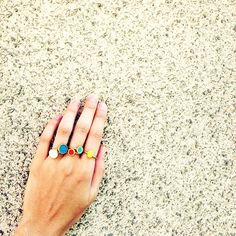 Sometimes its best to just keep it simple. And let the jewelry speak for itself. Loving these @MaryGaitani colourful rings! #wecreateharmony #marygaitani  Shop the rings here: http://www.wecreateharmony.com/designers/m-r/maria-gaitani.html