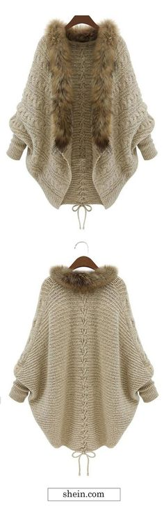 Faux Fur Collar Coat Sweater cardigan | Add some faux fur to the ends of your pattern for a touch of royalty