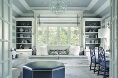 Blue and gray home office