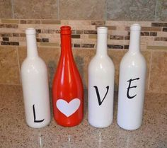 Valentines wine bottle idea from Uncorked! Wine Bottle Corks, Glass Bottle Crafts, Diy Bottle, Wine Bottle Glasses, Painted Wine Bottles, Bottles And Jars, Paint Bottles, Glass Bottles, Garrafa Diy