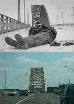 Then & Now Arnhem Bridge.