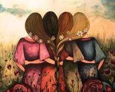The four sisters best friendsbridesmaids present art print Four Sisters, Sisters Art, Sisters Images, Best Friend Drawings, Bff Drawings, Beautiful Artwork, Fine Art Paper, Wall Art Prints, Original Paintings
