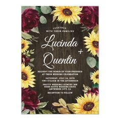 Sunflower and Red Roses Rustic Barn Wood Wedding Invitation Sunflower Wedding Invitations, Summer Wedding Invitations, Wedding Menu Cards, Elegant Invitations, Wedding Invitation Design, Sunflower Weddings, Country Wedding Programs, Rustic Wedding, Country Weddings