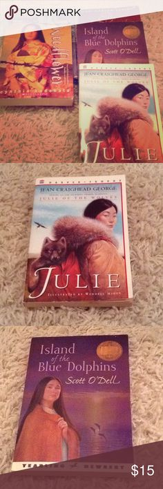 Bundle of 5 books. Good condition. ❤️📚 Bundle of 5 books. Good condition. Has some wear and a library sticker. Schoolhouse Mystery, Weedflower, Ella Enchanted, Island of Blue Dolphins, and Julie. ❤️📚 Other