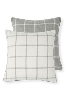 Primark - Grey and Cream Check Reversable Cushion