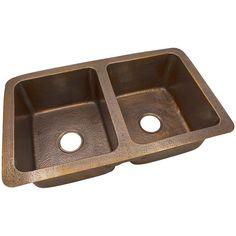 "34"" Double Bowl Copper Kitchen Sink"