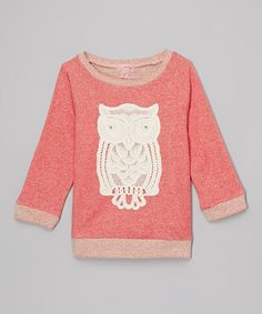 Monteau Girl Coral Owl French Terry Top
