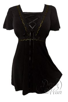Dare To Wear Victorian Gothic Women's Plus Size Angel Corset Top Black