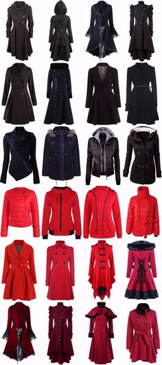 Most likely wouldn't wear the stuff in red but everything is nice- Winter Leather Jackets, Character Outfits, Gothic Fashion, Coats For Women, Mantel, Ideias Fashion, Pin Up, Cool Outfits, Fashion Dresses