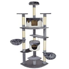 TecTake Cat Scratcher Activity Center Cat Tree Duki grey-white 204cm * You can find more details by visiting the image link. #CatScratchersandFurniture