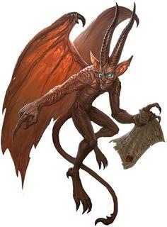Diabrete - Um pequeno humanoide, com asas coriáceas de morcego, cauda farpada e chifres pontiagudos e retorcidos paira à altura dos olhos, surgindo do nada. Em sua forma natural, um diabrete tem cerca de 60 cm de altura e pesa em torno de 4 kg. Fantasy Monster, Fantasy Demon, Monster Art, Dark Fantasy, Demon Art, Fantasy Illustration, Diablo, Aliens, Magical Creatures