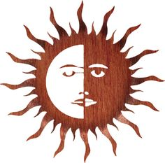 Sun and Moon with Bent Rays Laser Cut Metal Wall Art