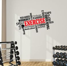 Exercise Word Cloud. Motivational Wall Art Decal. Perfect for