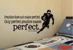 """Boy's Football Quote by Vince Lombardi """"Practice doesn't make perfect. Only perfect practice makes perfect. Vinyl Wall Art Decal 14"""" x 29"""""""