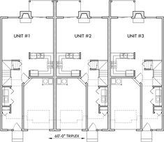 Triplex house plans, small townhouse plans, triplex house