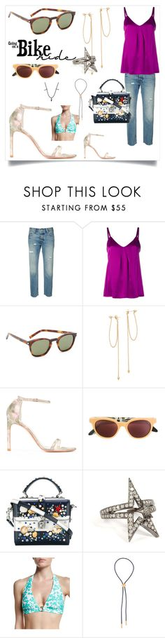 """bike ride"" by mkrish ❤ liked on Polyvore featuring Levi's, Vince, Yves Saint Laurent, ZoÃ« Chicco, Stuart Weitzman, RetroSuperFuture, Dolce&Gabbana, Nikos Koulis, Shoshanna and Northskull"