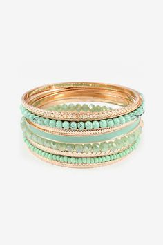 Bria Bracelet Set in Warm Mint