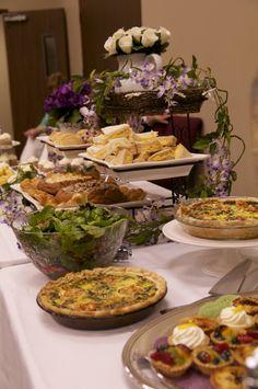 Bridal Shower Tea Party food ideas: quiche, fruit tarts, sandwiches