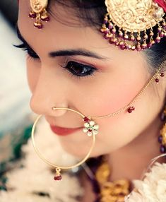 Indian bridal jewellery and nose ring. Visit www.weddingsonline.in for inspiration