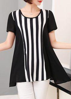 Asymmetric Stripe Print Short Sleeve Blouse on sale only US$26.85 now, buy cheap Asymmetric Stripe Print Short Sleeve Blouse at liligal.com